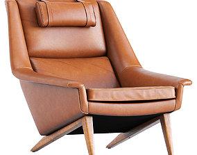 Danish Reupholstered Lounge Chair 3D model