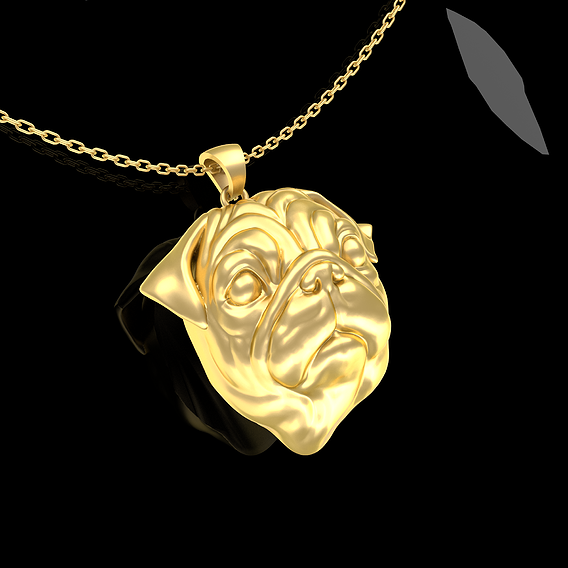 PUG Head Pendant Jewelry Gold 3D print model