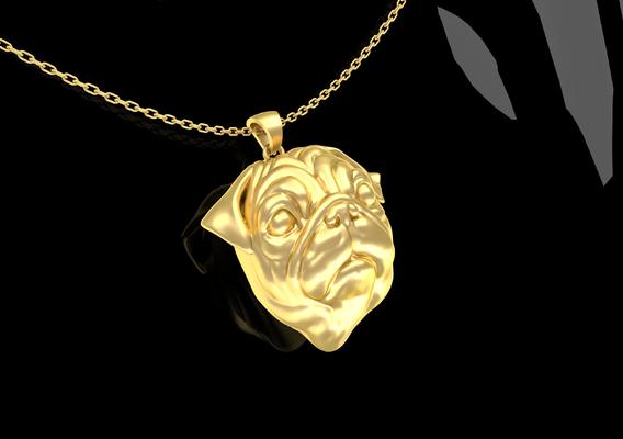 PUG Head Pendant Jewelry Gold 3D print model