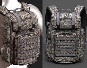 3D model Backpack military combat soldier bag baggage