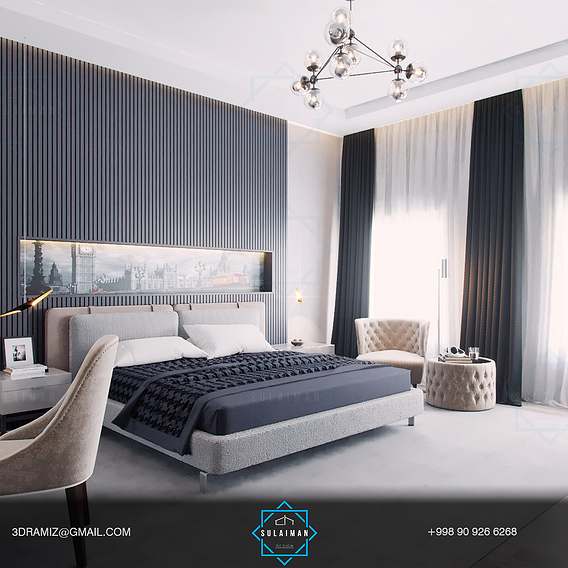 Bedroom in a contemporary style. Design and visualization. Located in Tashkent