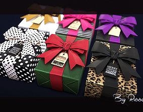 3D asset Big Ribbon Holiday Gift Box LowPoly and Material