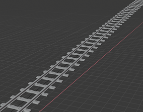 Railway with curve 3D model