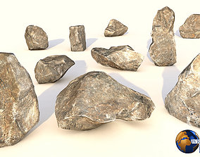 realtime Lowpoly Realistic Rock Collection Pack Lowpoly 3D
