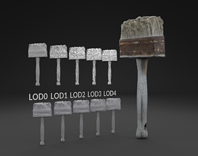 Scanned Brush LOW POLY LODs 3D model