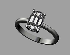 Diamond Baquette Ring 3D printable model