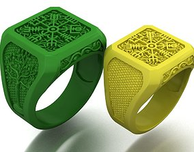 mens ring with viking symbols two 3D printable model