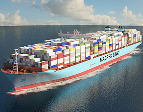 3D model Maersk Triple E-class container ship