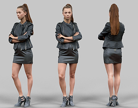 Girl in leather crossing arms 3D asset
