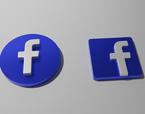 sign facebook icon 3D model