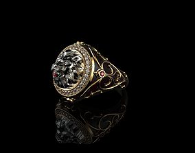 Mens Lion Ring Diamond 3D print model