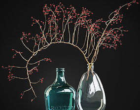 3D model Decorative branch with red berries in a glass