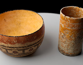 3D model Ancient Clay Pots Low Poly PBR