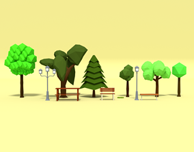 Low Poly Cartoon Park Assets Pack realtime