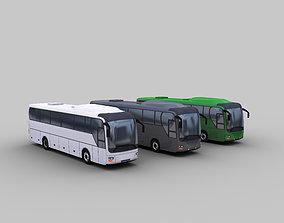 Low Poly Coach Bus 3D asset