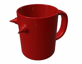 3D print model mug with horns