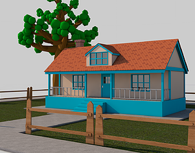 3D asset game-ready sky Cartoon House