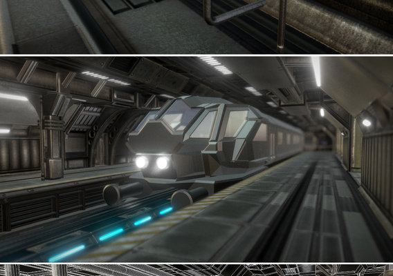 Futuristic Station with Monorail