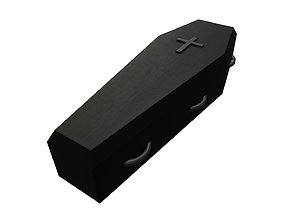 3D asset black painted wooden coffin with metal cross