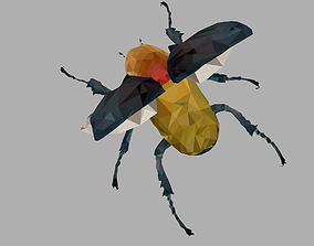 Rhinoceros Beetle Low Polygon Art Insect 3D asset