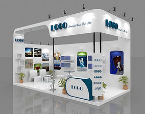 Exhibition Booth 3D Model 6 mtr x 3 mtr 2 sides open