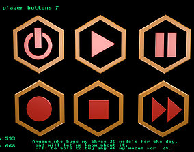 Low poly player buttons 7 3D
