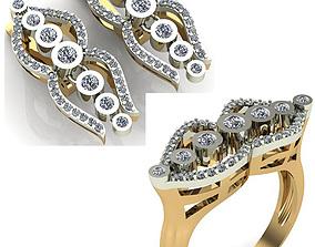 WOMAN SET RING AND EARRINGS 3D model diamond womanring