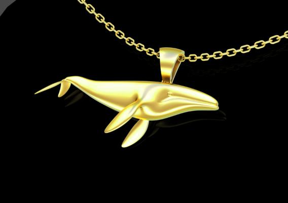Big Whale Pendant jewelry Gold 3D print model
