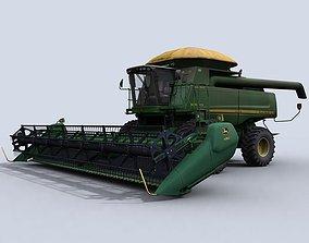 Combine Harvester 1 with Draper Platform 3D asset