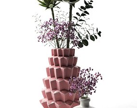 decorative Vases with Echeveria 3D model