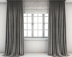 Two-tone grey curtains with roman blind 3D model