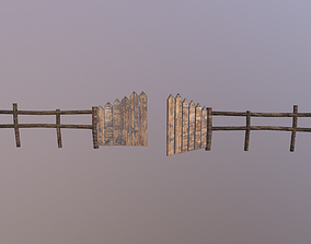 Wooden Fence 3D model game-ready PBR barrier