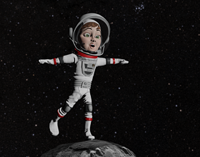 3D asset Astronaut Female Cartoon Rigged