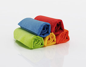 Small towels with different collors 3D