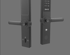 Smart door lock black 3D Model