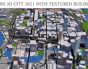 realtime Miami 3d city 2021 with textured buildings