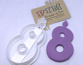 3D print model 4 inches candle number 8 cookie cutter f