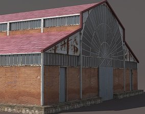 game-ready Factory Hangar Low Poly 3d Model
