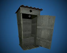 Wooden toilet 3D model