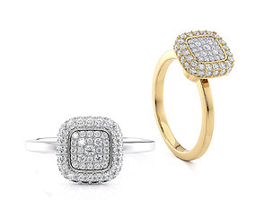 Engagement ring Cusion head shape Printable model