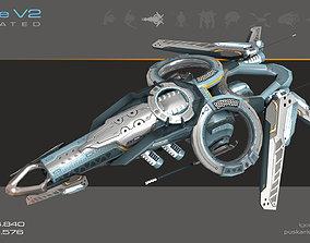Drone V2 Cybertech - Animated 3D asset