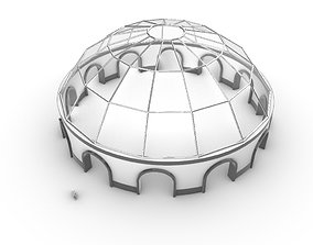 3D model Dome Pavilion with Square Wireframe Structure and