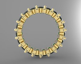 3D Emerald eternity ring