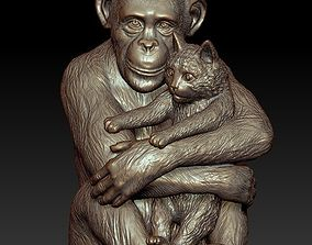 Sculpture Chimpanzee with cat 50cm 3D print model