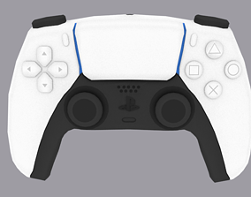 Low-Poly PS5 or Play Station 5 Controller 3D asset
