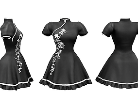 3D asset game-ready Chinese Style Large Skirt Dress