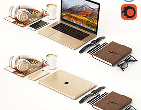 3D Workplace Gold MacBook