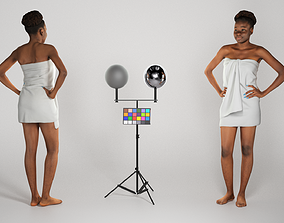 3D model Young african woman wrapped in white towel 235