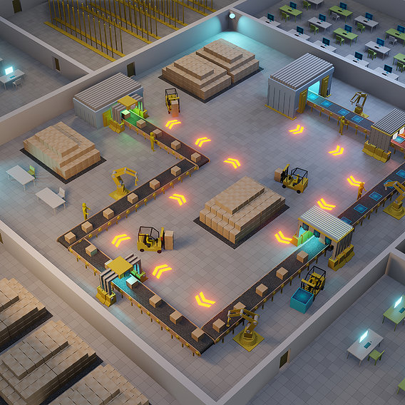Automated production line. Factory floor with conveyor and various machines.