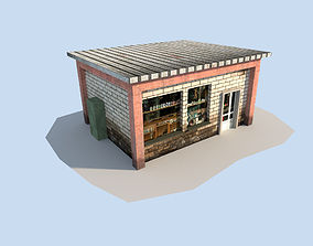 3D asset low poly town house